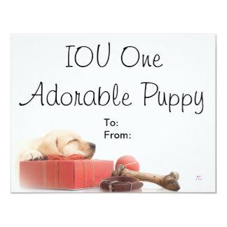 Perrito adorable de IOU uno Comunicado Personalizado