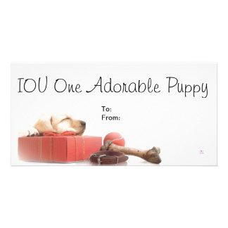 Perrito adorable de IOU uno Plantilla Para Tarjeta De Foto