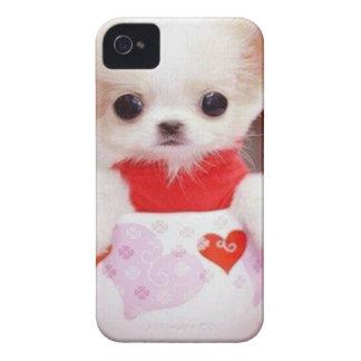 perrito adorable de la taza de té iPhone 4 Case-Mate funda