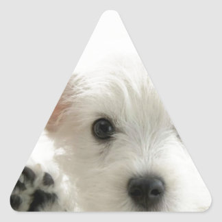 Perrito adorable pegatina triangular