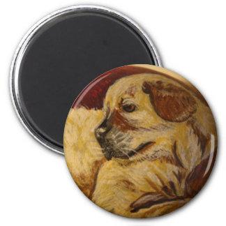 Perrito amarillo de Labrador Imán Redondo 5 Cm