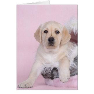Perrito amarillo del labrador retriever tarjeta de felicitación