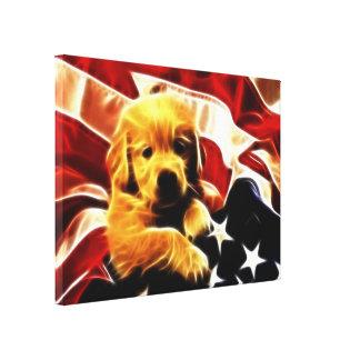 Perrito americano lona estirada galerías