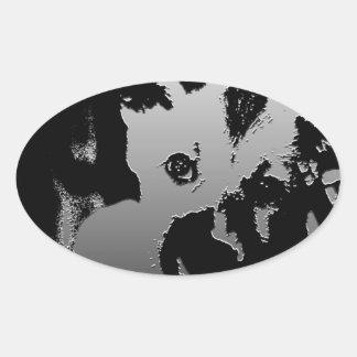 Perrito anhelante calcomanía oval personalizadas