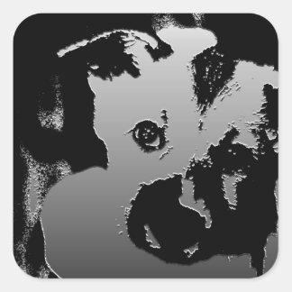 Perrito anhelante calcomania cuadradas personalizadas