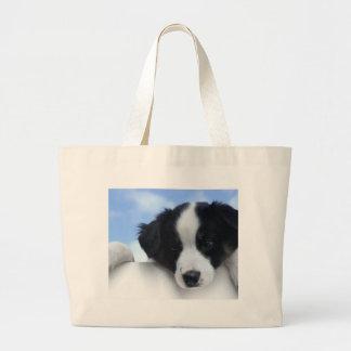 Perrito australiano del perro pastor bolsa tela grande