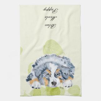 Perrito azul de Merle del pastor australiano - Toalla De Cocina