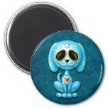 Perrito azul del azúcar del zombi imán para frigorifico
