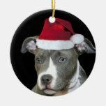 Perrito azul del pitbull del navidad adorno navideño redondo de cerámica