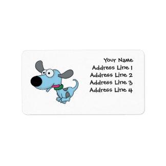 Perrito azul lindo etiqueta de dirección