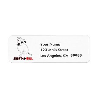 Perrito blanco ADOPT-A-BULL de Pitbull Etiqueta De Remite