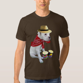 Perrito blanco del boxeador con la camiseta de los remeras