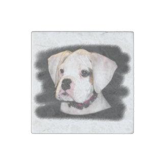Perrito blanco del boxeador imán de piedra