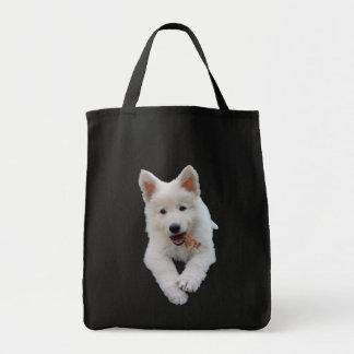 Perrito blanco del pastor bolsa tela para la compra