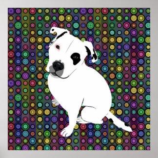 Perrito blanco lindo de Pitbull en modelo del círc Poster