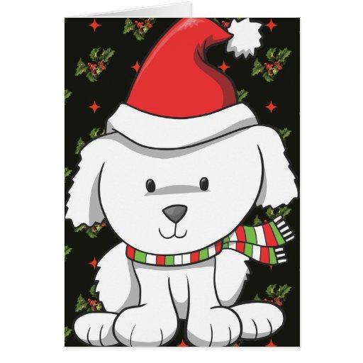 Perrito blanco Santa Felicitacion