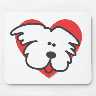 Perrito blanco mouse pads