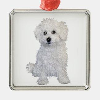 Perrito boloñés adorno navideño cuadrado de metal