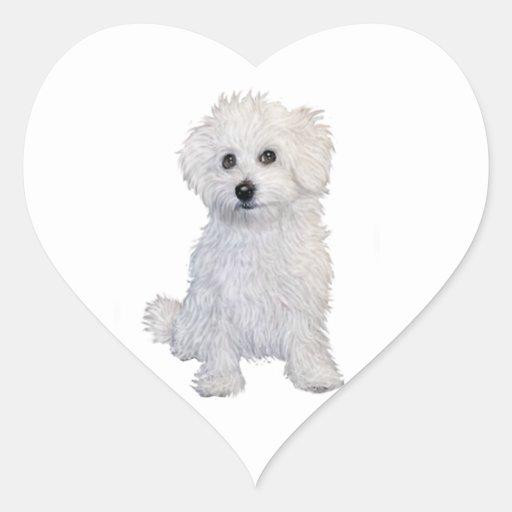 Perrito boloñés pegatina de corazón personalizadas