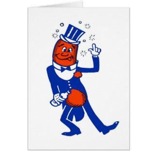 Perrito caliente bebido vintage del kitsch tarjeta de felicitación