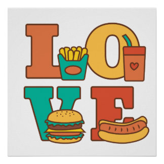 Perrito caliente colorido de la hamburguesa de póster