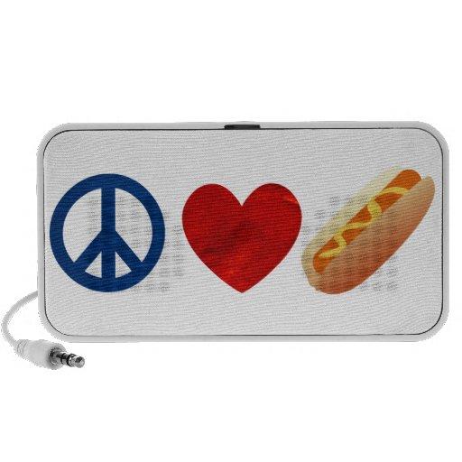 Perrito caliente del amor de la paz iPhone altavoces