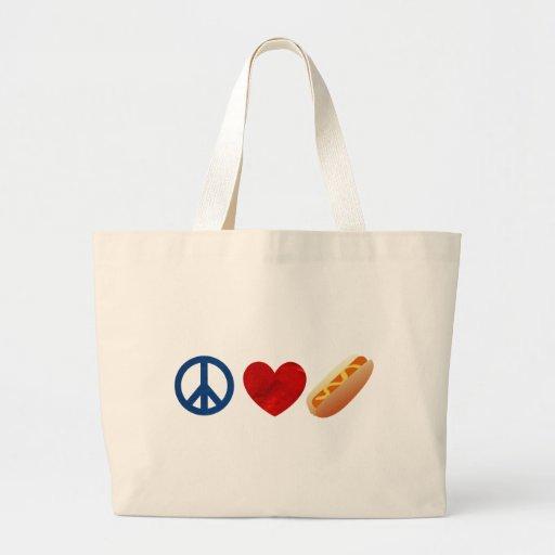 Perrito caliente del amor de la paz bolsas de mano