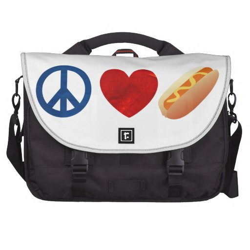 Perrito caliente del amor de la paz bolsas para portátil