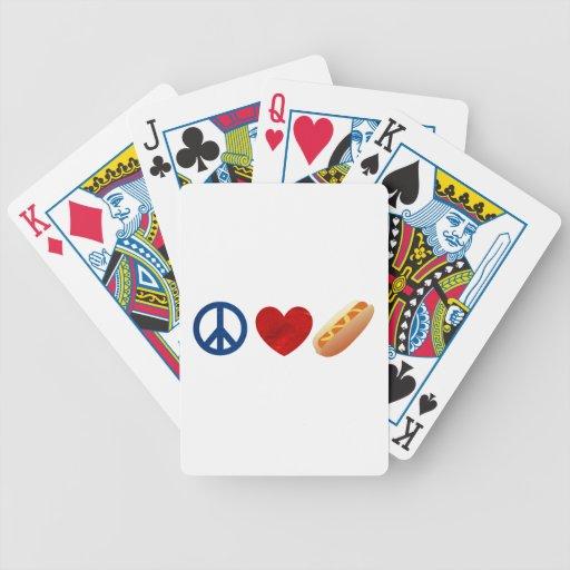 Perrito caliente del amor de la paz barajas de cartas