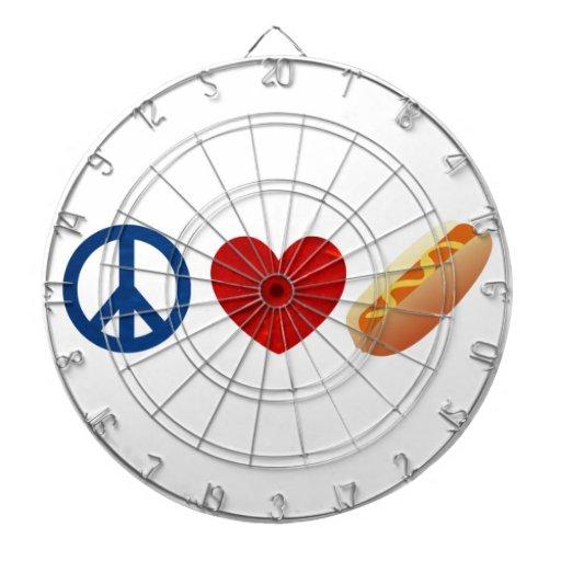 Perrito caliente del amor de la paz tablero de dardos