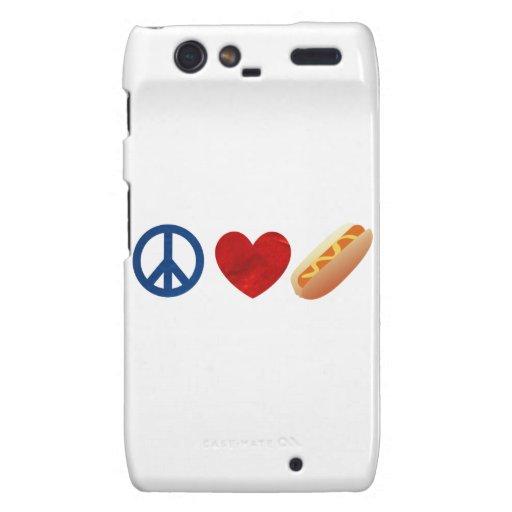Perrito caliente del amor de la paz droid RAZR funda