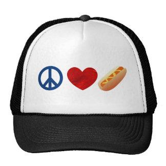 Perrito caliente del amor de la paz gorros