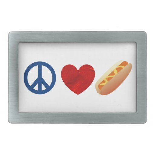 Perrito caliente del amor de la paz hebillas cinturon rectangulares