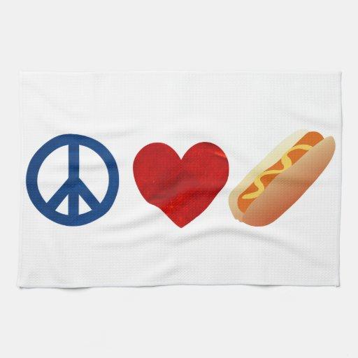 Perrito caliente del amor de la paz toallas