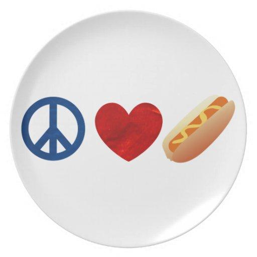 Perrito caliente del amor de la paz plato para fiesta