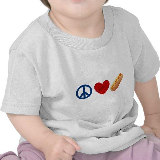 Perrito caliente del amor de la paz camisetas