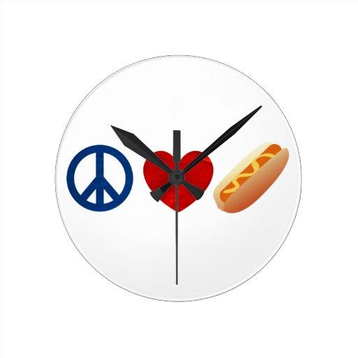 Perrito caliente del amor de la paz relojes de pared