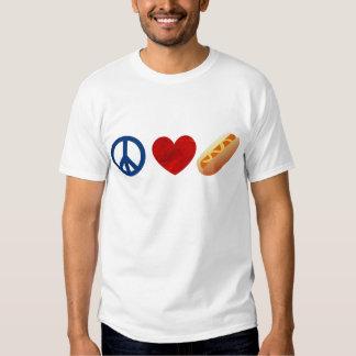 Perrito caliente del amor de la paz remera