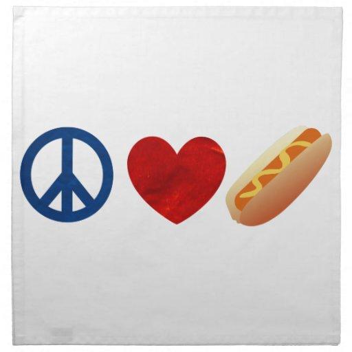 Perrito caliente del amor de la paz servilletas imprimidas