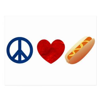 Perrito caliente del amor de la paz tarjetas postales