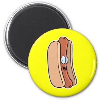 Perrito caliente del dibujo animado imán redondo 5 cm