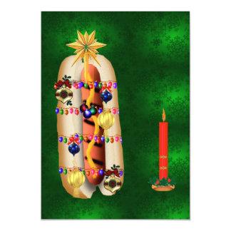 """Perrito caliente del navidad invitación 5"""" x 7"""""""