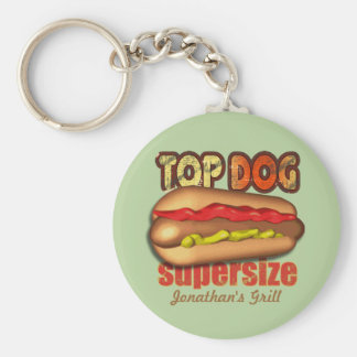 Perrito caliente del perro superior personalizado llavero redondo tipo pin