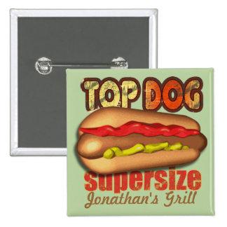 Perrito caliente del perro superior personalizado pin cuadrada 5 cm