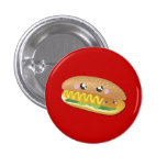 Perrito caliente en rojo, botón del dibujo animado pin