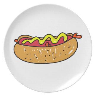 Perrito caliente platos de comidas