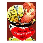 Perrito caliente retro del vintage en una tarjeta  tarjetas postales
