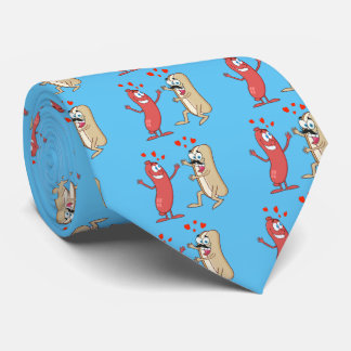 Perrito caliente y bollo - amor en la primera corbatas personalizadas