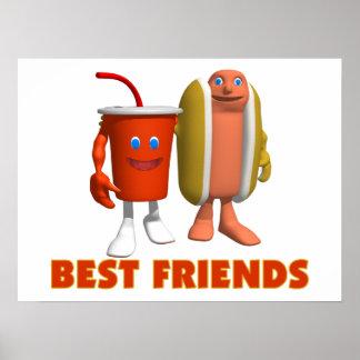 Perrito caliente y soda de los mejores amigos póster