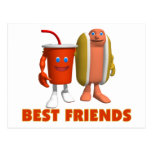 Perrito caliente y soda de los mejores amigos tarjetas postales